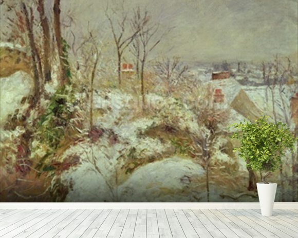 Snow Scene wallpaper mural room setting