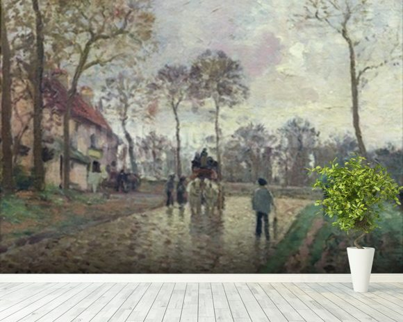 The Coach to Louveciennes, 1870 (oil on canvas) wallpaper mural room setting