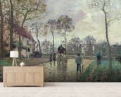 The Coach to Louveciennes, 1870 (oil on canvas) wallpaper mural living room preview