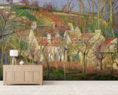 The Red Roofs, or Corner of a Village, Winter, 1877 (oil on canvas) mural wallpaper living room preview