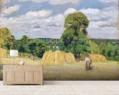 Harvesting at Montfoucault, 1876 (oil on canvas) wall mural living room preview