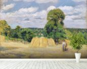 Harvesting at Montfoucault, 1876 (oil on canvas) wall mural in-room view