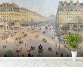 The Avenue de LOpera, Paris, Sunlight, Winter Morning, c.1880 (oil on canvas) wallpaper mural in-room view