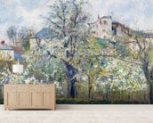 The Vegetable Garden with Trees in Blossom, Spring, Pontoise, 1877 (oil on canvas) wall mural living room preview
