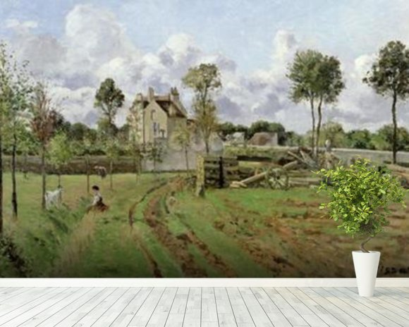 Landscape, Louveciennes, c.1872 (oil on canvas) wallpaper mural room setting