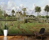 Landscape, Louveciennes, c.1872 (oil on canvas) wallpaper mural kitchen preview