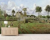 Landscape, Louveciennes, c.1872 (oil on canvas) wallpaper mural living room preview