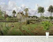 Landscape, Louveciennes, c.1872 (oil on canvas) wallpaper mural in-room view