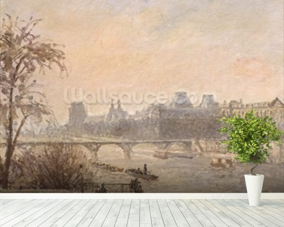The Seine and the Louvre, 1903 (oil on canvas) wallpaper mural room setting