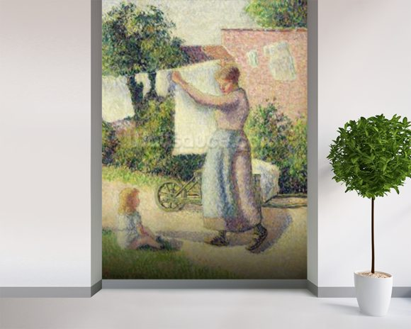 Woman Hanging up the Washing, 1887 (oil on canvas) wall mural room setting