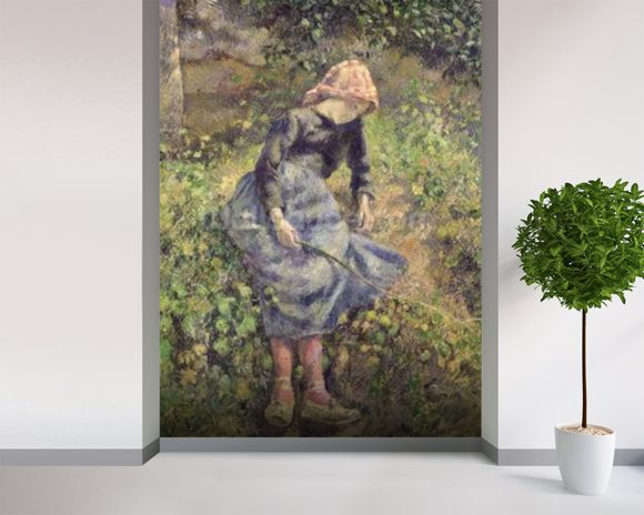 Girl with a Stick, 1881 (oil on canvas) wallpaper mural room setting