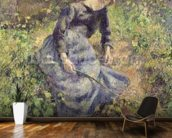 Girl with a Stick, 1881 (oil on canvas) wallpaper mural kitchen preview