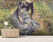 Girl with a Stick, 1881 (oil on canvas) wallpaper mural living room preview