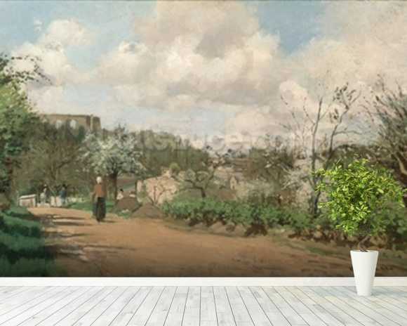 View from Louveciennes, 1869-70 (oil on canvas) mural wallpaper room setting
