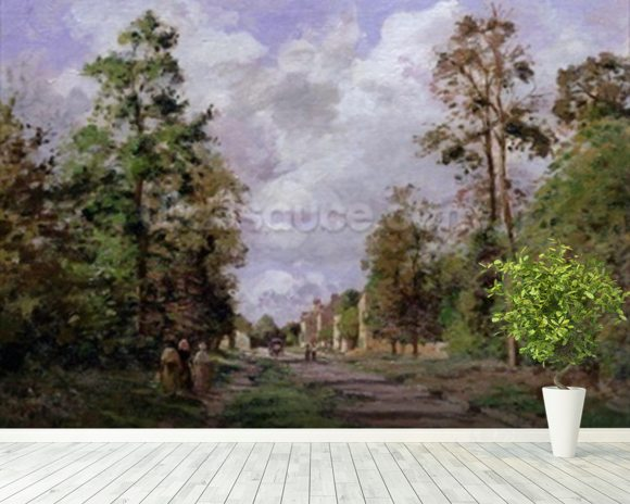 The road to Louveciennes at the edge of the wood, 1871 mural wallpaper room setting
