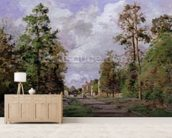 The road to Louveciennes at the edge of the wood, 1871 mural wallpaper living room preview