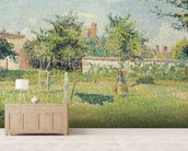 Woman in the Meadow at Eragny, Spring, 1887 (oil on canvas) mural wallpaper living room preview