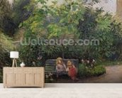 A Corner of the Garden at the Hermitage, Pontoise, 1877 (oil on canvas) wallpaper mural living room preview