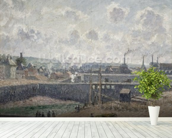Low Tide at Duquesne Docks, Dieppe, 1902 (oil on canvas) wallpaper mural room setting