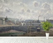 Low Tide at Duquesne Docks, Dieppe, 1902 (oil on canvas) wallpaper mural in-room view