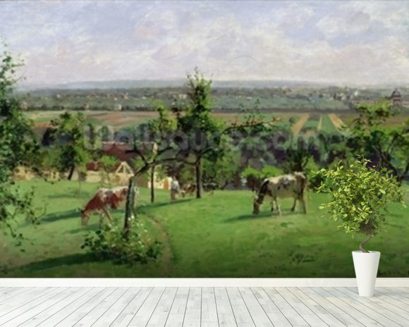 Hillside of Vesinet, Yvelines, 1871 (oil on canvas) mural wallpaper room setting