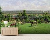 Hillside of Vesinet, Yvelines, 1871 (oil on canvas) mural wallpaper living room preview