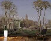 Entrance to the Village of Voisins, Yvelines, 1872 (oil on canvas) wall mural kitchen preview