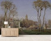 Entrance to the Village of Voisins, Yvelines, 1872 (oil on canvas) wall mural living room preview