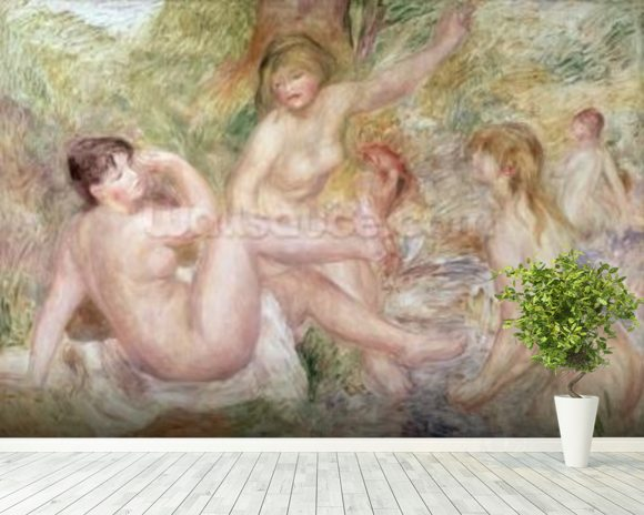 Study for the Large Bathers, 1885-1901 (oil on canvas) wall mural room setting