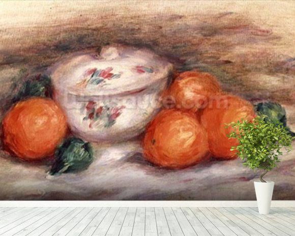 Still life with a covered dish and Oranges wall mural room setting