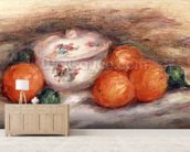 Still life with a covered dish and Oranges wall mural living room preview