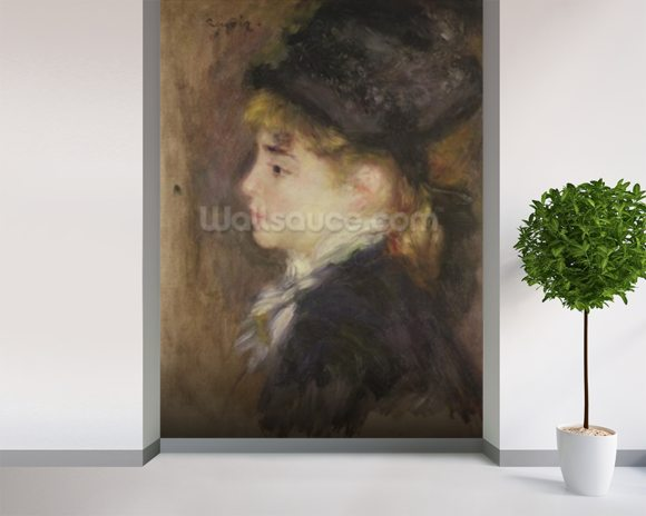 Portrait of a woman, possibly Margot, c.1876-78 (oil on canvas) wall mural room setting