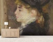 Portrait of a woman, possibly Margot, c.1876-78 (oil on canvas) wall mural living room preview