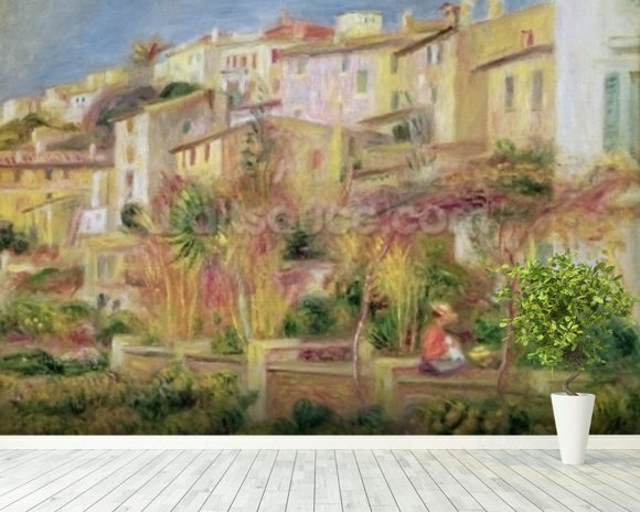 Terrace in Cagnes, 1905 (oil on canvas) wallpaper mural room setting