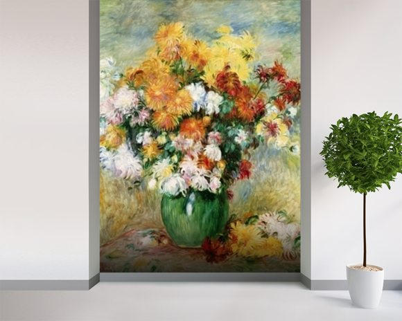 Bouquet of Chrysanthemums, c.1884 (oil on canvas) mural wallpaper room setting