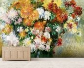 Bouquet of Chrysanthemums, c.1884 (oil on canvas) mural wallpaper living room preview