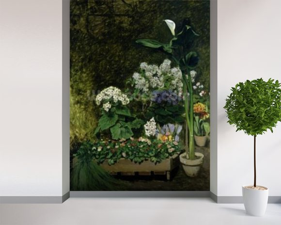 Flowers in a Greenhouse, 1864 (oil on canvas) wall mural room setting