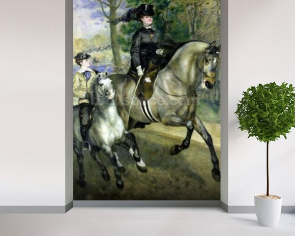 Horsewoman in the Bois de Boulogne, 1873 (oil on canvas) wallpaper mural room setting