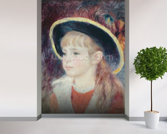 Portrait of a Young Girl in a Blue Hat, 1881 (oil on canvas) wall mural room setting