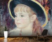 Portrait of a Young Girl in a Blue Hat, 1881 (oil on canvas) wall mural kitchen preview