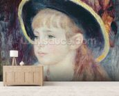 Portrait of a Young Girl in a Blue Hat, 1881 (oil on canvas) wall mural living room preview