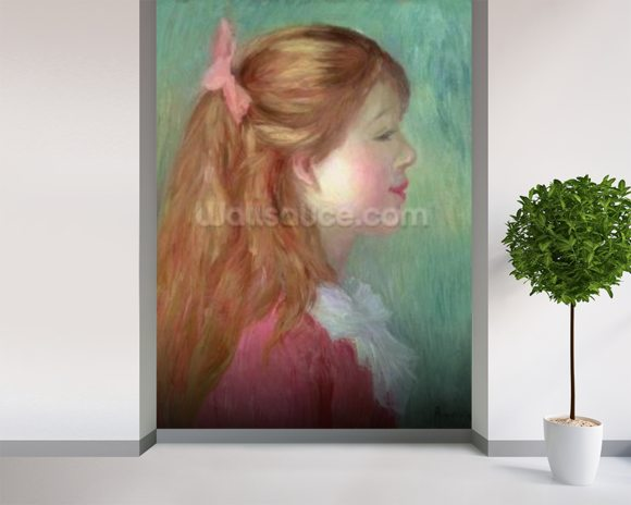 Young girl with Long hair in profile, 1890 wall mural room setting