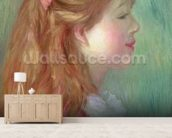 Young girl with Long hair in profile, 1890 wall mural living room preview