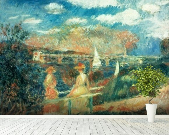 The banks of the Seine at Argenteuil, 1880 wallpaper mural room setting