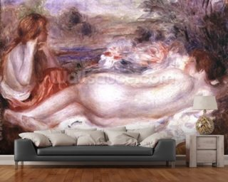 Bather reclining and a young girl doing her hair, 1896 wallpaper mural