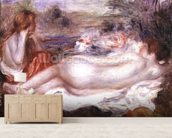 Bather reclining and a young girl doing her hair, 1896 wallpaper mural living room preview