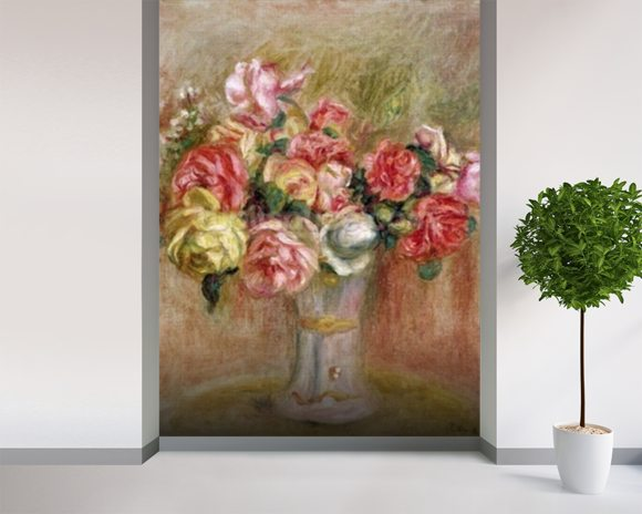 Roses in a Sevres vase wall mural room setting