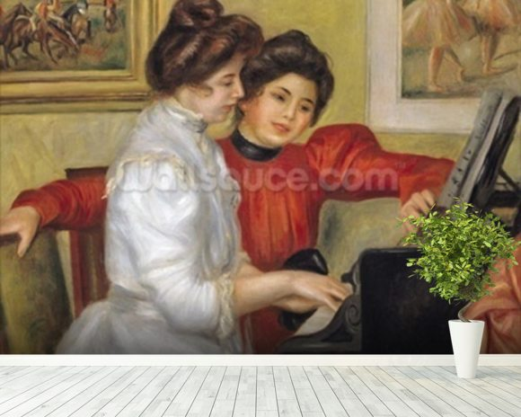 Yvonne and Christine Lerolle at the piano, 1897 (oil on canvas) wallpaper mural room setting