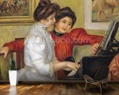 Yvonne and Christine Lerolle at the piano, 1897 (oil on canvas) wallpaper mural kitchen preview