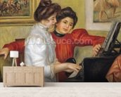 Yvonne and Christine Lerolle at the piano, 1897 (oil on canvas) wallpaper mural living room preview